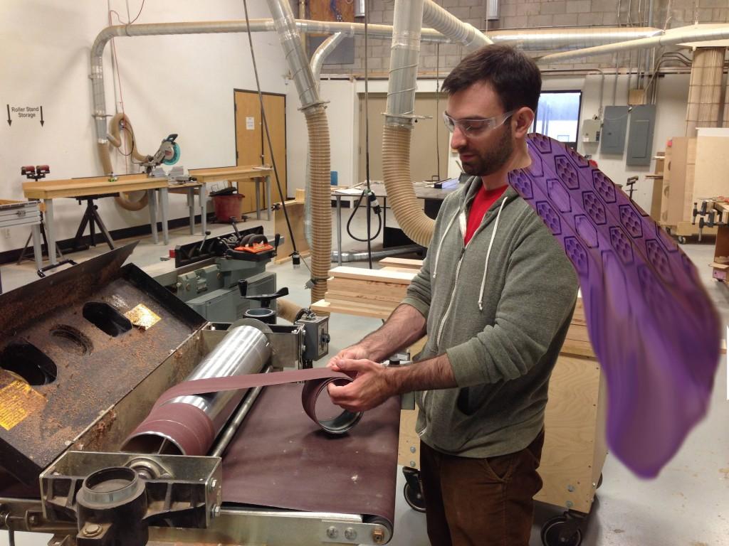 Dan wearing a purpleheart cape