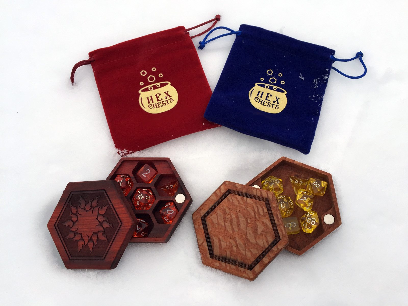 Redheart and Lacewood Hex Chests