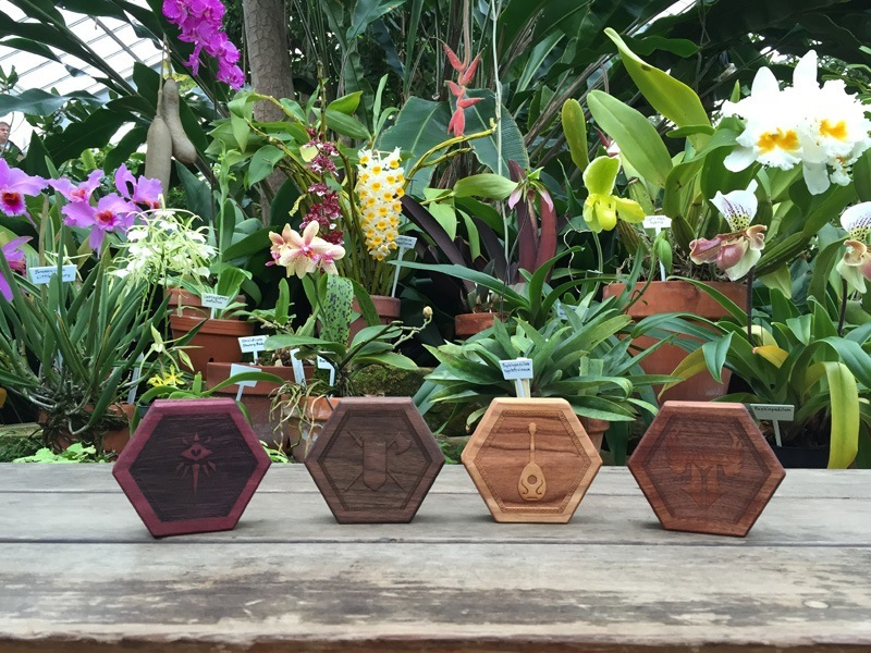 Purpleheart, walnut, cherry and mahogany Hex Chests (L-R)
