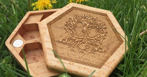 Birdseye maple Hex Chest with Tree of Life art
