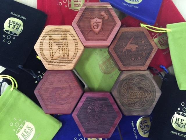 Aromatic cedar, mahogany, walnut, purpleheart, bloodwood, red oak (Top-clockwise)