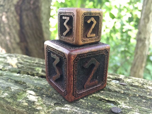 Mahogany and walnut cursebreaker dice