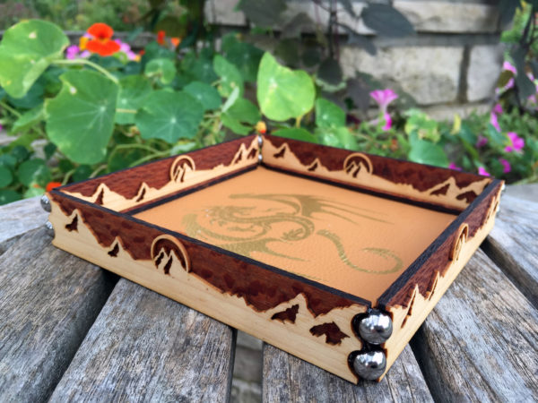 Scroll dice rolling tray with flowers