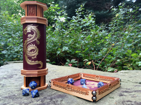 Dice tower and dice tray with lapis RPG dice
