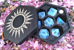 Hex Chest dice box in flower petals with opalite RPG dice