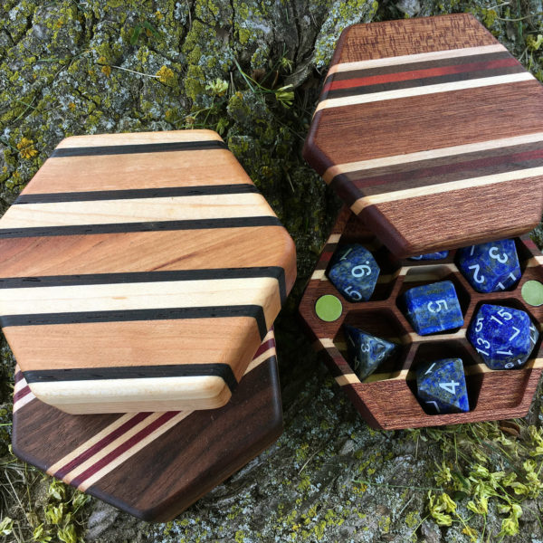 Hex Chest Dice boxes with Lapis polyhedral RPG dice