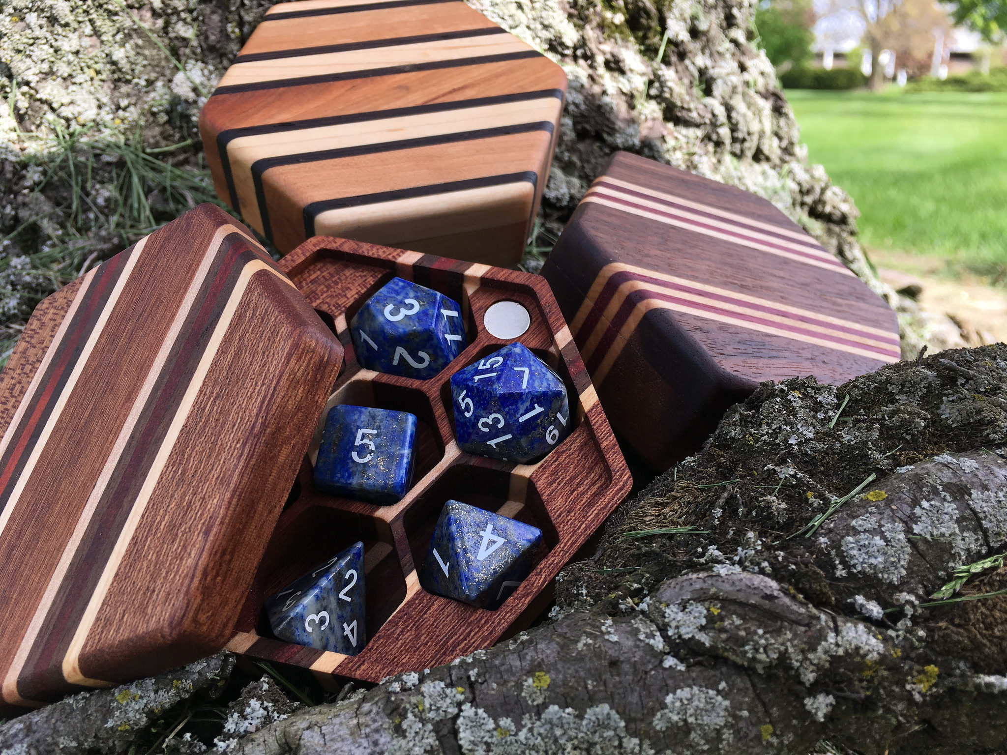Hex Chest dice boxes with pinstripes and lapis dice