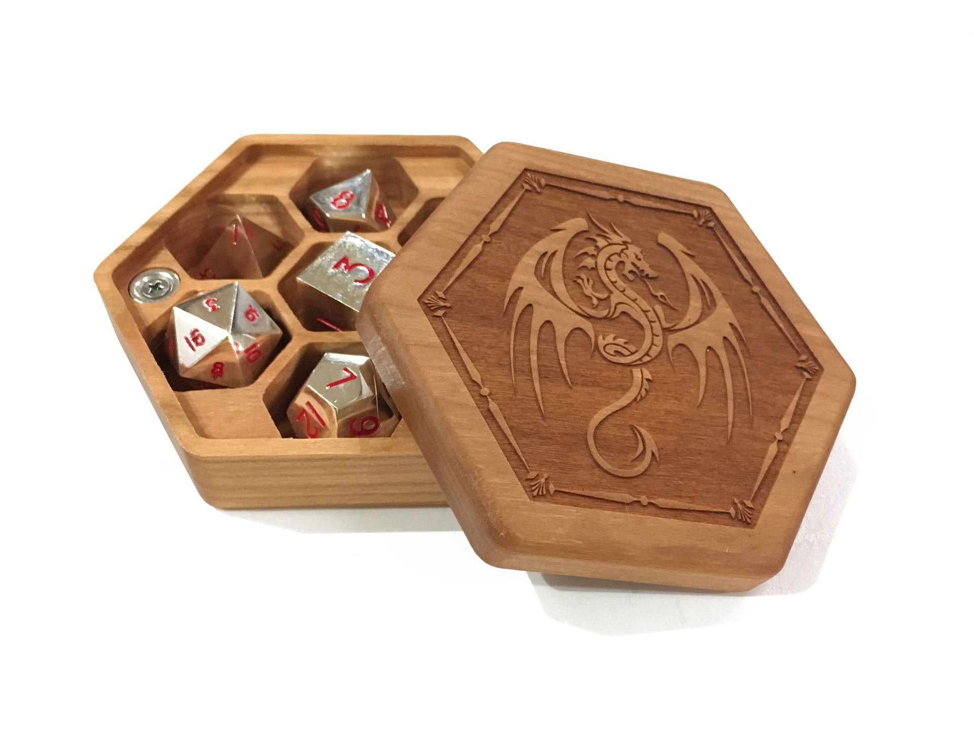 Winged Dragon Cherry Hex Chest with Silver Dice
