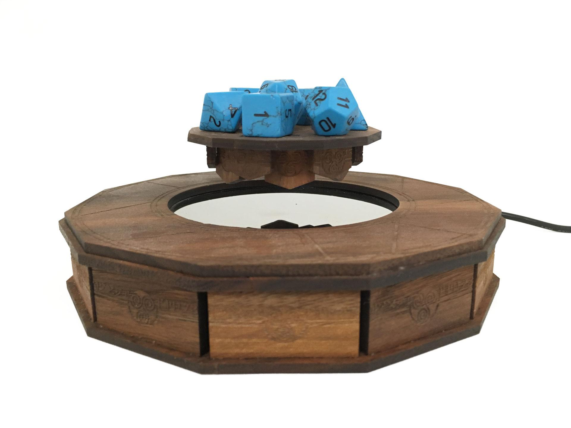 Our magical magnetic levitation system with turquoise gemstone dice