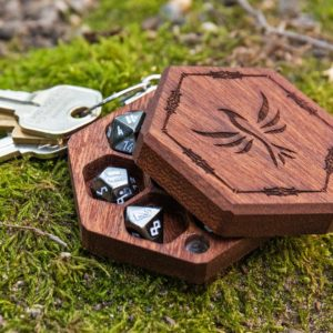 Hex Chest Mini Mahogany Wooden Dice Box