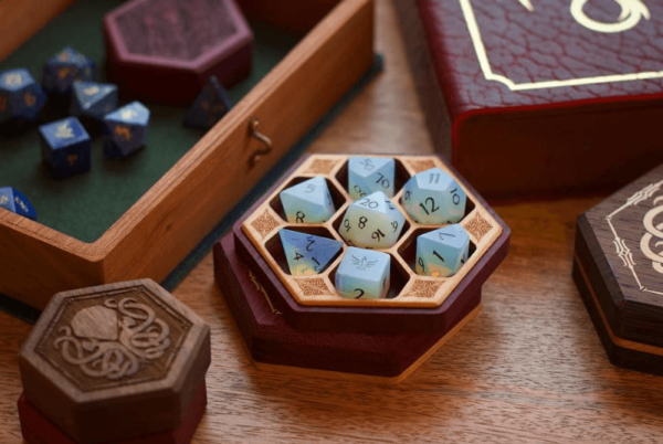 Hex Chest Wooden Dice Boxes