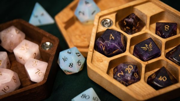 Gemstone RPG Dice in Hex Chest Dice Boxes