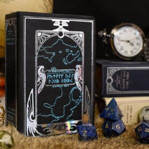 Spellbook Mini Dice Box and Gemstone RPG Dice