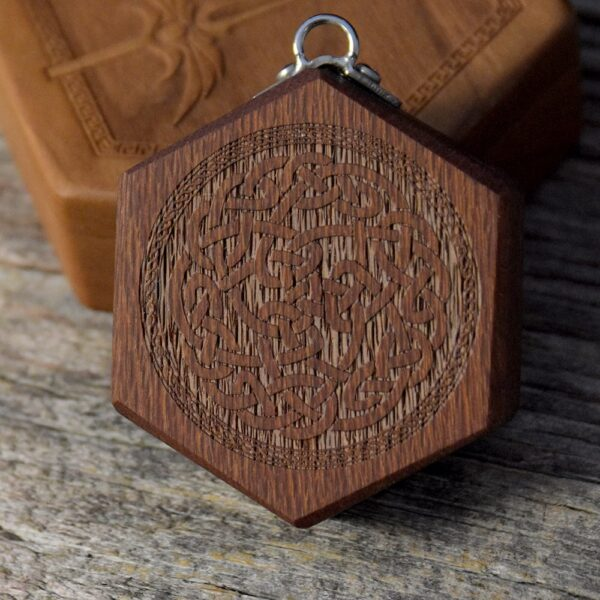 Hex Chest Mini Dice Box - Lacewood Celtic Knot