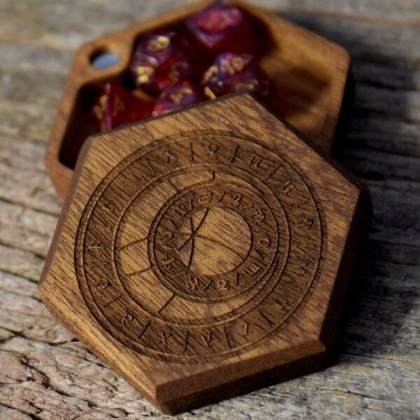 Hex Chest Mini Dice Box - Prague Clock Mahogany