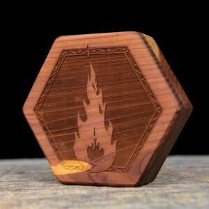 Aromatic Cedar Hex Chest Dice Box with Fireball Art