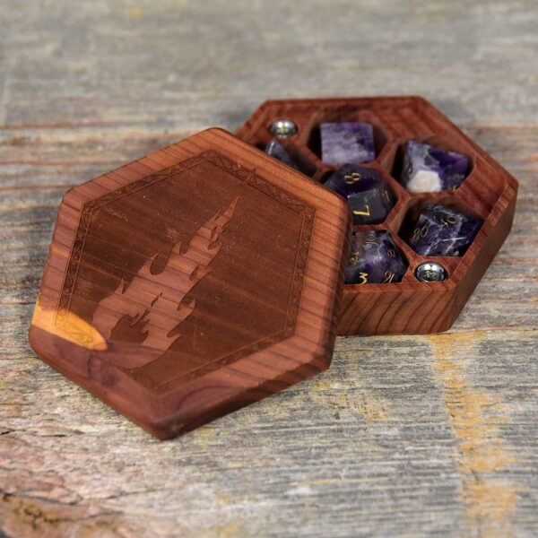 Aromatic Cedar Hex Chest Dice Box with Fireball Art