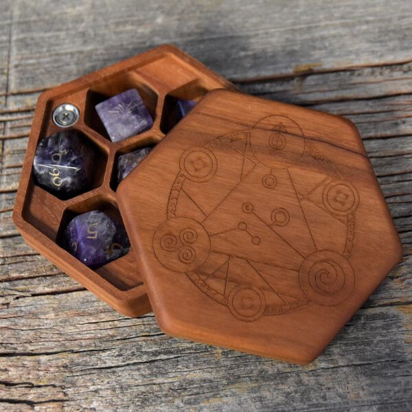 Cherry Hex Chest Dice Box with Spellcircle Art