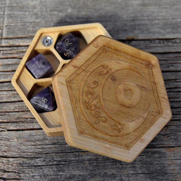 Birdseye Maple Hex Chest Dice Box with Mystic Eye Art