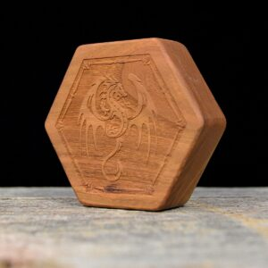 Cherry Hex Chest Dice Box with Winged Dragon Art