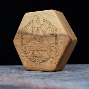 Birdseye Maple Hex Chest Dice Box with Spellcircle Art