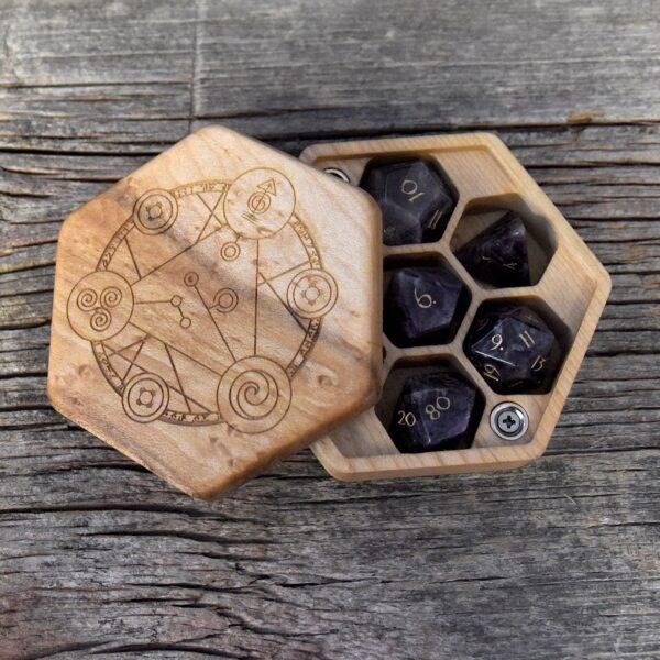Birdseye Maple Hex Chest Dice Box with Spellcircle Art