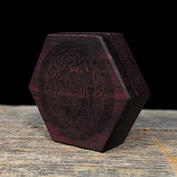 Purpleheart Hex Chest Dice Box with Celtic Knot Art