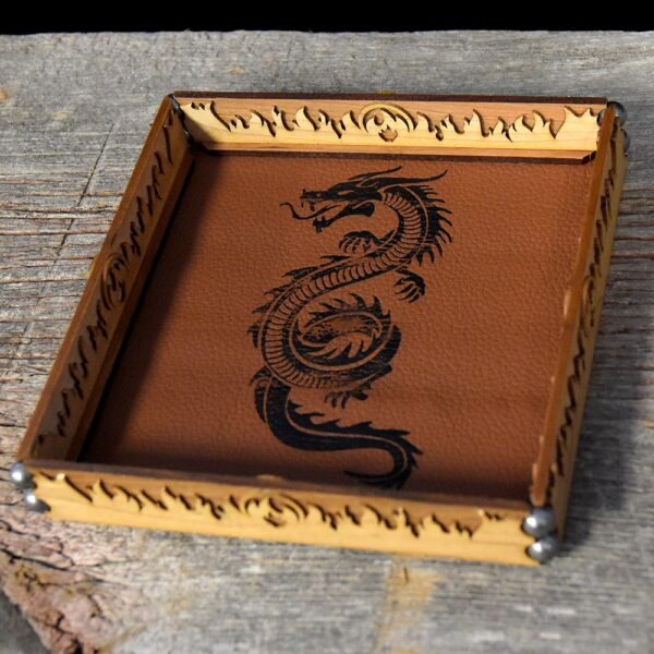 Scroll Dice Rolling Tray with Sandstone Leather