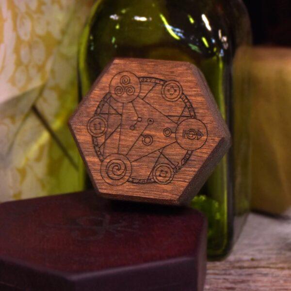 Mini Hex Chest Dice Box with Spellcircle art on mahogany wood