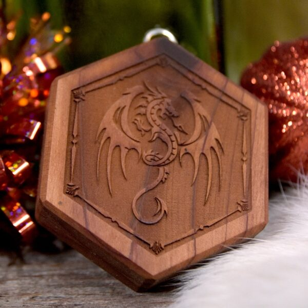 Mini Hex Chest Dice Box with Winged Dragon art