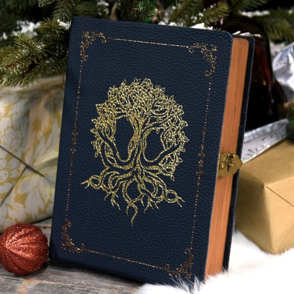 Spellbook Gaming Box with blue leather and gold foil pressed art