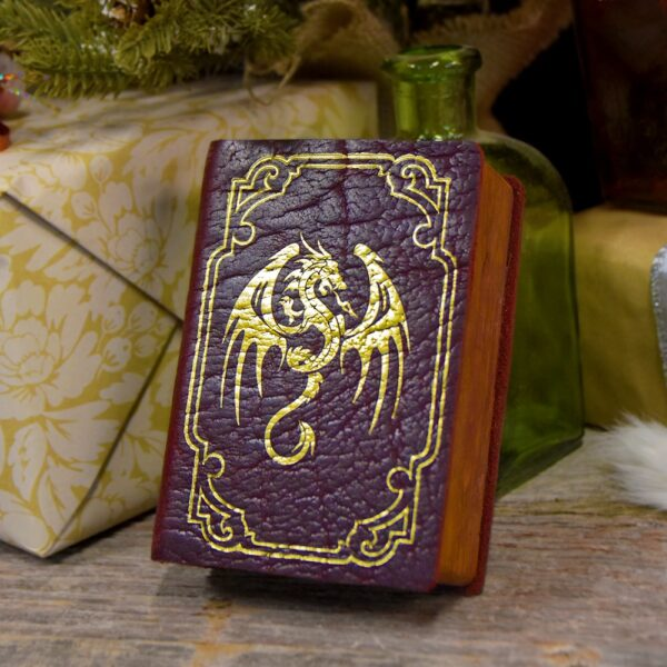 Mini Spellbook Gaming Box with Red Leather and Gold Foil Pressed Art