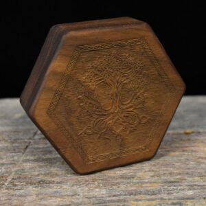 Walnut Hex Chest Dice Box with Yggdrasil Art