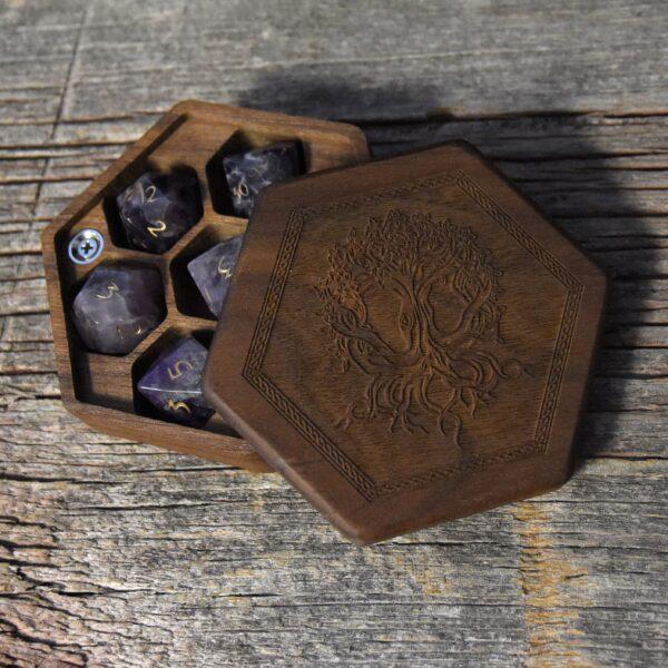 Walnut Hex Chest Dice Box with Yggdrasil Art