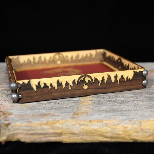 Scroll Rolling Tray Flame Flourish in Maple Walnut