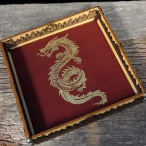 Scroll Rolling Tray with Crimson Leather and Gold Serpent Art