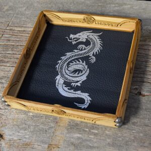Scroll Rolling Tray with Lapis Leather and Silver Serpent Art