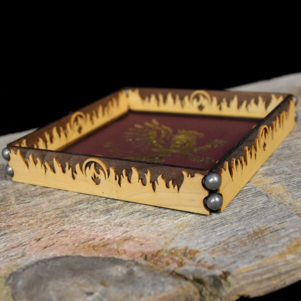 Scroll Rolling Tray Flame Flourish in Maple/Walnut
