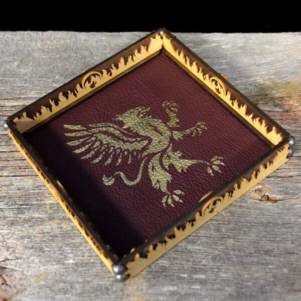 Scroll Rolling Tray with Gold Griffin Art