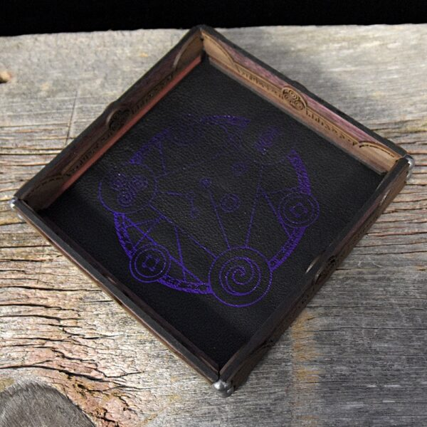 Scroll Rolling Tray with Ocean Foil on Black