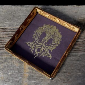 Scroll Rolling Tray with Amethyst Leather